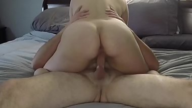 Big tit girlfriend fucks and gets a huge creampie