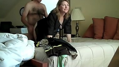 Mature wife gets amazing creampie from her boss on business trip