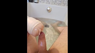 Using my fleshlight in the tub - MOANING