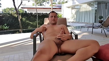Hot daddy jerks off at the pool