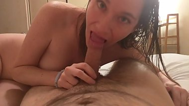 Wife gives an amazing sloppy deepthroat blowjob