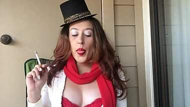 Sexy Frosty Snowman Girl Costume Smoking King Size Cork Tip 100 Cigarette