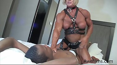 Strong tall woman FBB Muscle Domination vs weak man