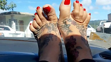 Sexy Red christmas Toe Nails Spreading and Wiggling on car dash take a ride