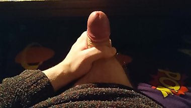 Playing With My Dripping Uncircumcised Cock and Balls Before Cumming