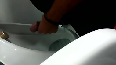 My young mate getting frisky at public urinal with his MONSTER FAT COCK