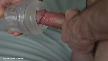 Big dick in a Cockring fucking a fleshlight blowing a hot load