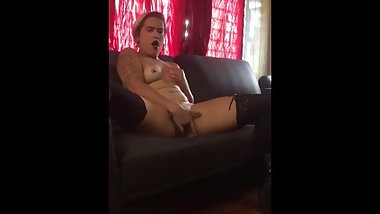 Young sexy girl fingering herself on her couch