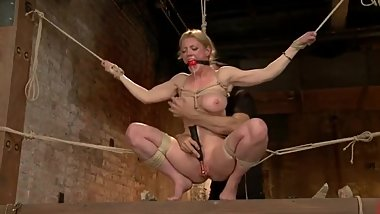 Blonde With Tits Tied Orgasms for Her Cruel Master